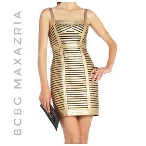 BCBG MAXAZRIA beret gold + black metallic dress